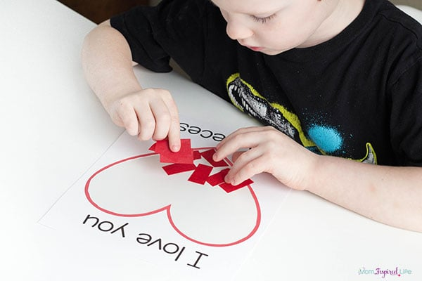 I love you to pieces craft with printable.