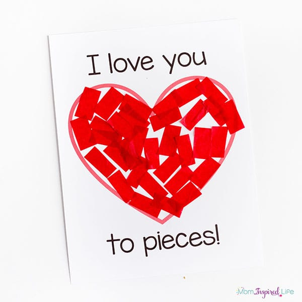 I love you to pieces printable craft.