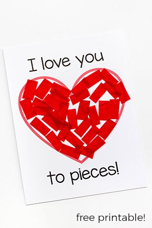 I love you to pieces craft for kids on Valentine's Day.