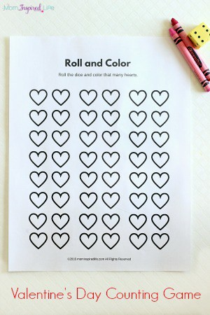 Roll and Color Valentine\'s Day Counting Game