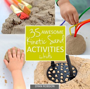 Kinetic sand book filled with activities.