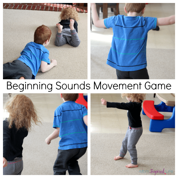 Beginning sounds movement activity. Teach letter sounds with a gross motor activity!