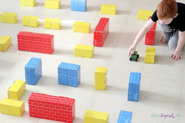 Block maze for cars to go through. A fun STEM exploration.