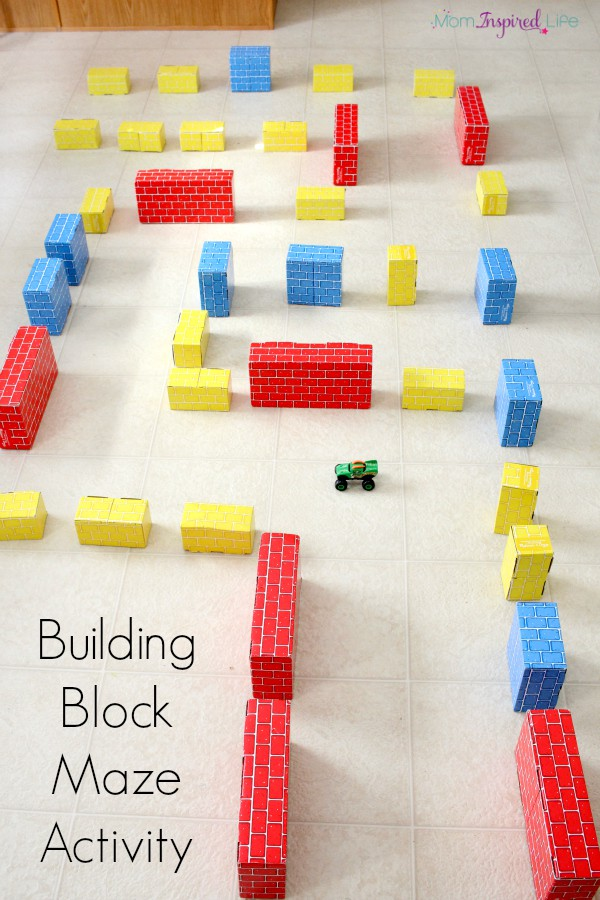 Building block maze activity. A fun STEM activity that develops problem solving and critical thinking skills.