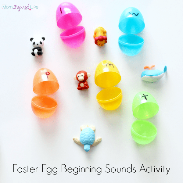 Easter egg beginning sounds activity. Hands-on literacy and fine motor activity.