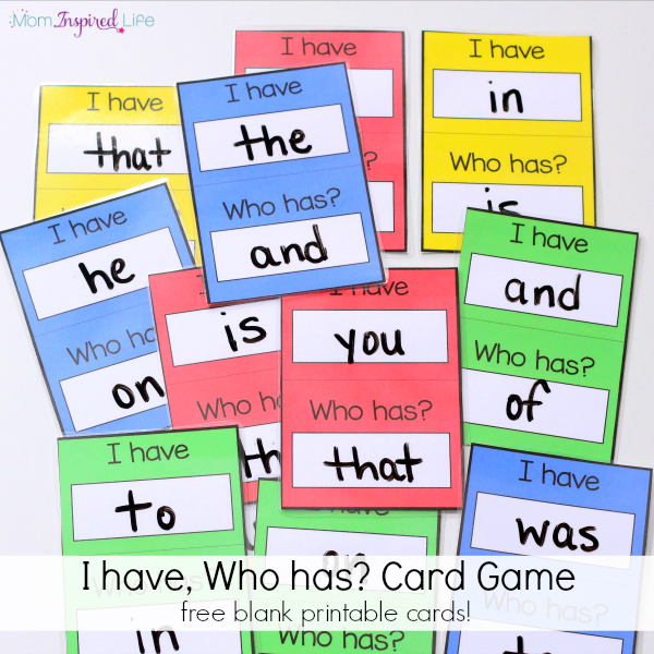 I have, Who has? Card Game for Kids to learn sight words, alphabet letters, shapes and more!