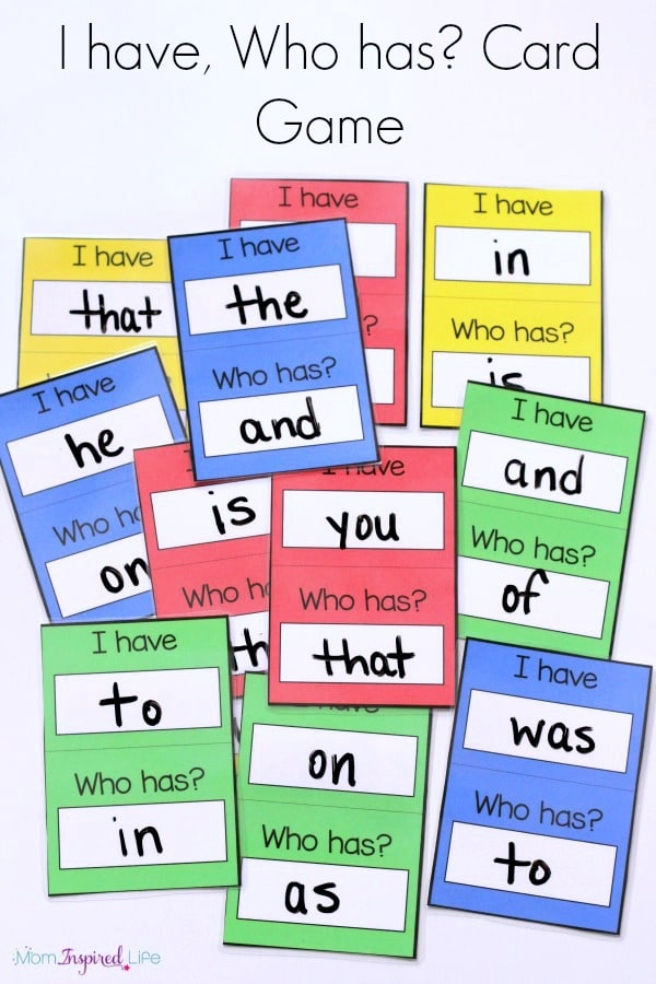 I have, Who has? card game for young kids to teach sight words, alphabet letters, shapes and more!