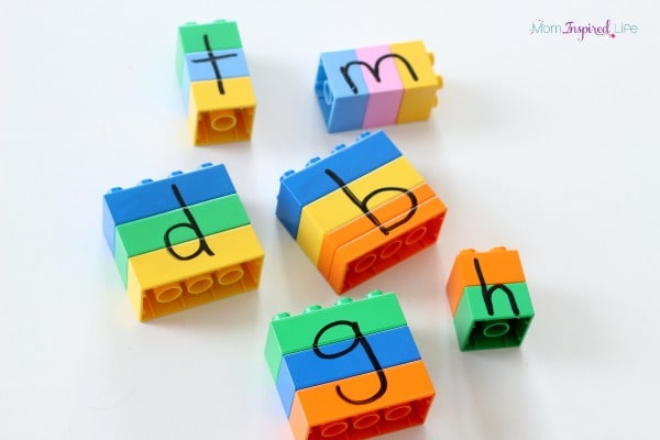 LEGO literacy activity for kids.