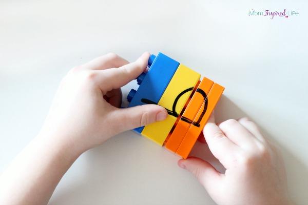 LEGO puzzles to teach the alphabet to kids.