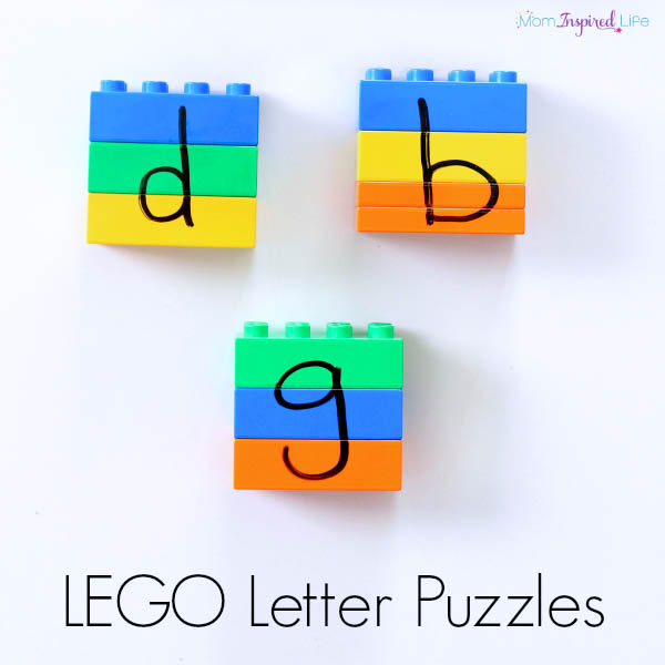 LEGO letter puzzles. A hands-on alphabet activity that develops fine motor skills and critical thinking skills.