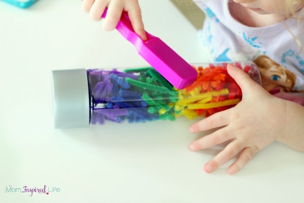 Magnetic sensory bottle for toddlers.