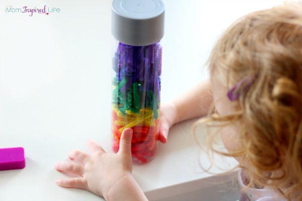 Rainbow sensory bottle for toddlers and preschoolers.