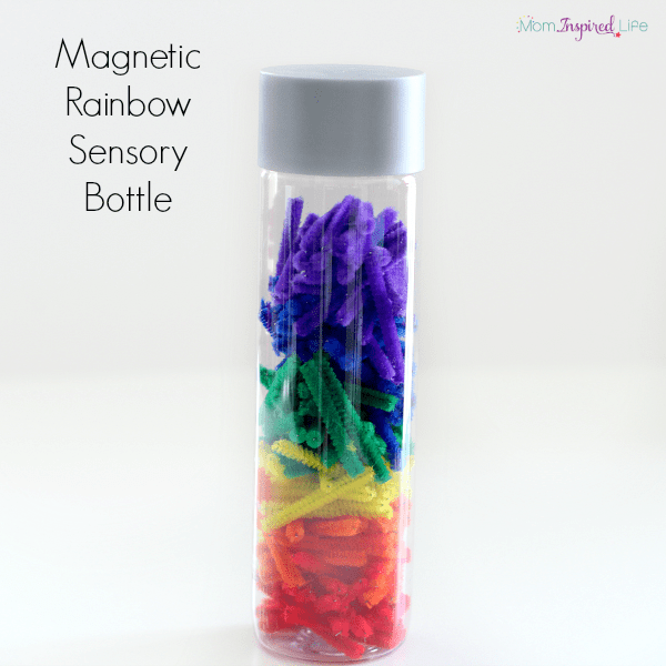 Magnetic Rainbow Sensory Bottle made with pipe cleaners. A science and sensory exploration.