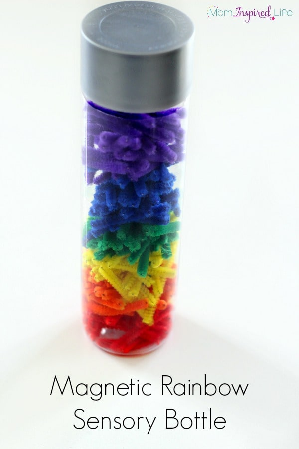 Magnetic rainbow sensory bottle with pipe cleaners. A fun science and sensory exploration.