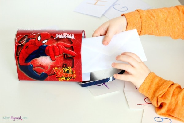 Mail alphabet activity for preschool.