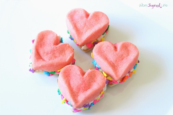 Heart ice cream sandwiches made with sugar cookies.