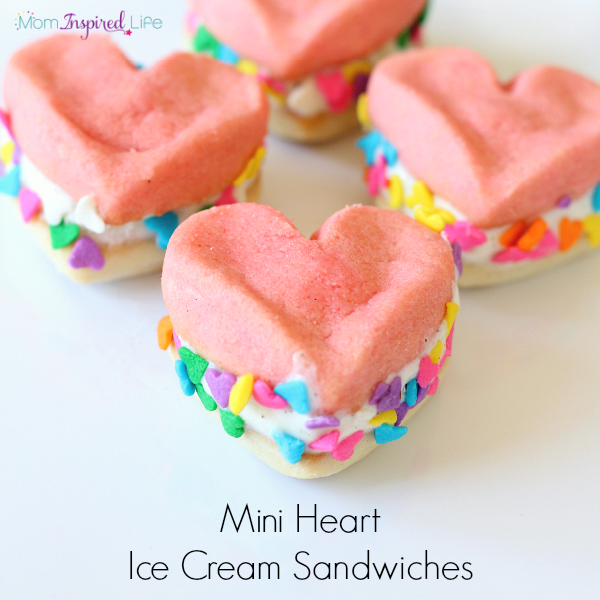 Mini Heart Ice Cream Sandwiches for a easy Valentine's Day dessert.