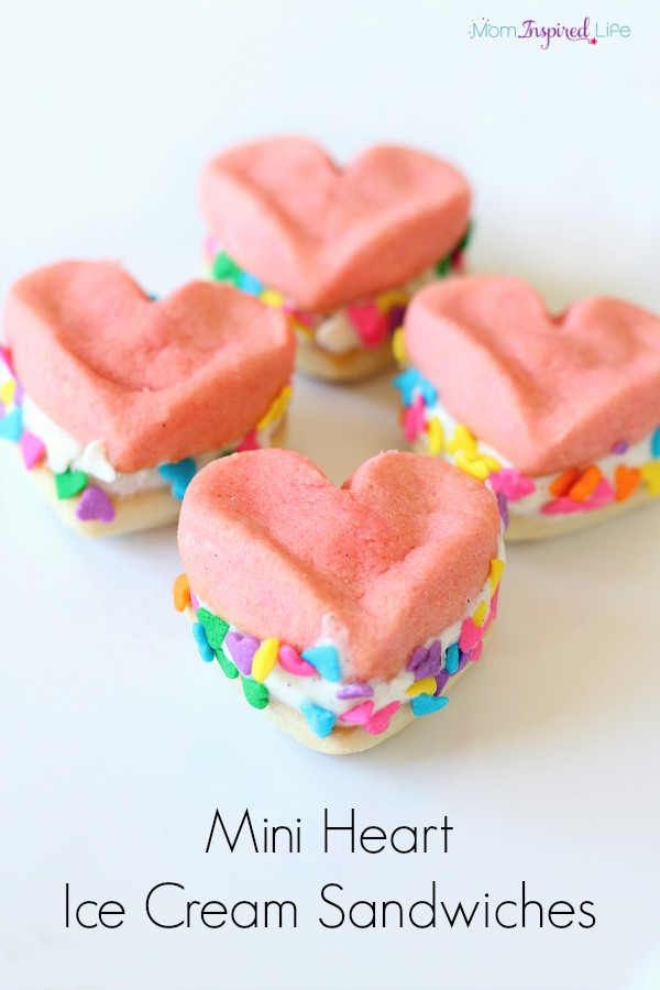 Heart ice cream sandwiches. A Valentine's Day treat for kids.