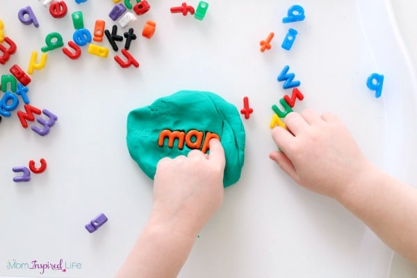 Hands-on alphabet activity with play dough.