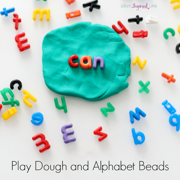 Learning with play dough and letter beads. Learn letters, sight words and more! Plus, develop fine motor skills!
