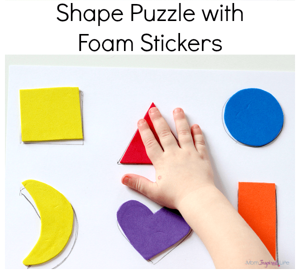 Shape puzzle with foam stickers. A math and fine motor activity.
