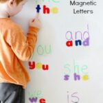 Spelling Sight Words with Magnetic Letters
