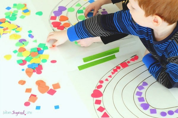 Rainbow activity for young kids. A sticky rainbow for learning shapes and colors.