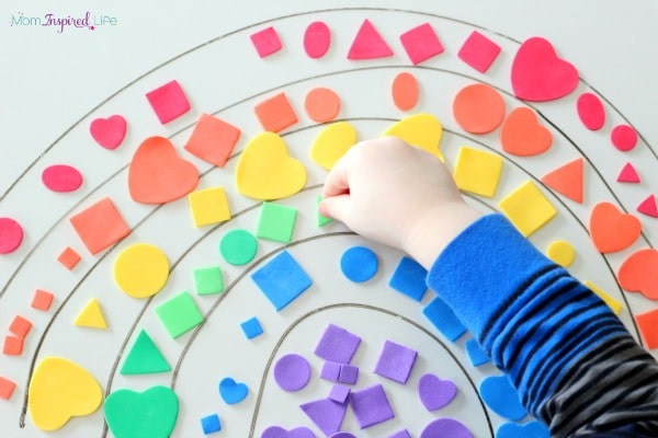 Rainbow activity for preschoolers. A fun sticky shape rainbow.