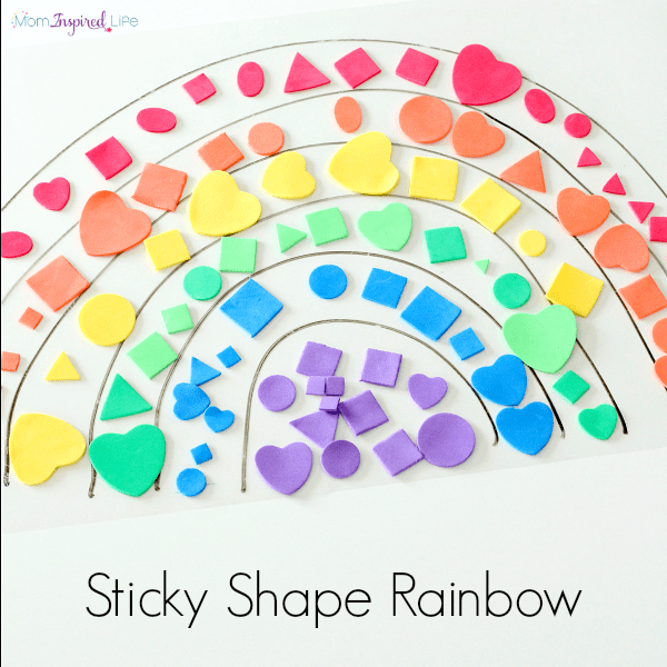 Sticky shape rainbow activity. Learn colors and shapes while developing fine motor skills!
