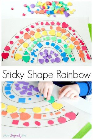 Sticky shape rainbow activity. Teach shapes, colors and order of the colors in the rainbow while developing fine motor skills!