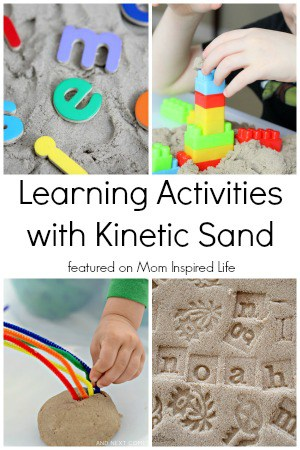 Kinetic sand learning activities for kids. Lots of ideas for things to do with kinetic sand.