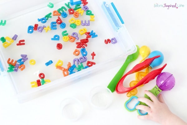 Fine motor activity that uses the popular fine motor tool set. It's an alphabet game as well!