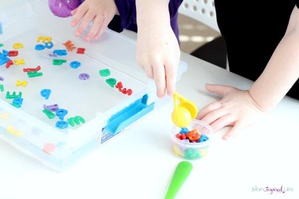Alphabet fine motor activity for preschoolers.