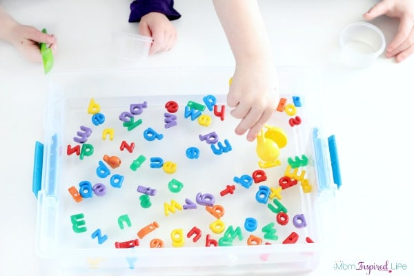 Alphabet game that develops fine motor skills while teaching letter identification. A super fun preschool alphabet activity!