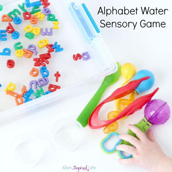 Alphabet Water Sensory Game. A fun water alphabet activity that develops fine motor skills!