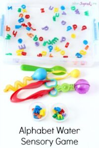 lphabet water sensory game. Kids will learn letter names while participating in this water sensory play activity.