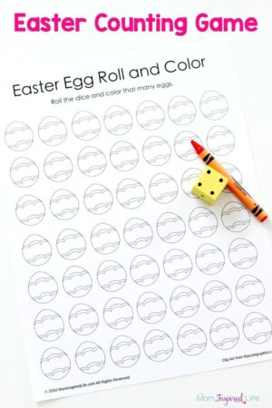 Easter egg roll and color counting game. A fun preschool Easter game!