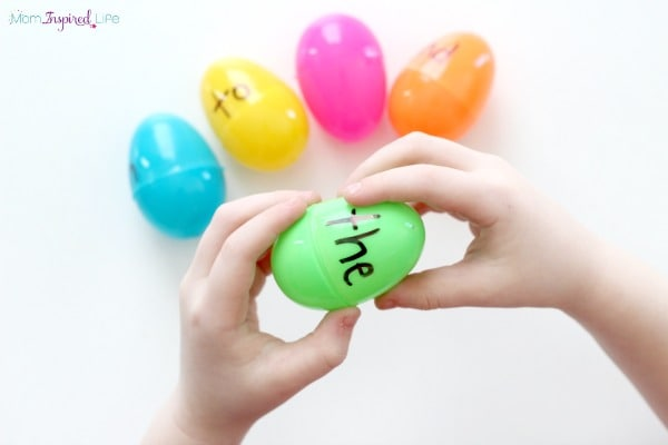 Sight word and fine motor activity with plastic Easter eggs.