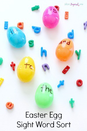 Easter egg sight word sort activity. A hands-on sight word activity for young kids and preschoolers.