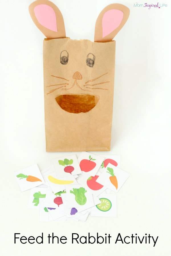 Feed the rabbit activity to teach colors, counting, letters, letter sounds and more! Printable fruit and vegetable cards are included!