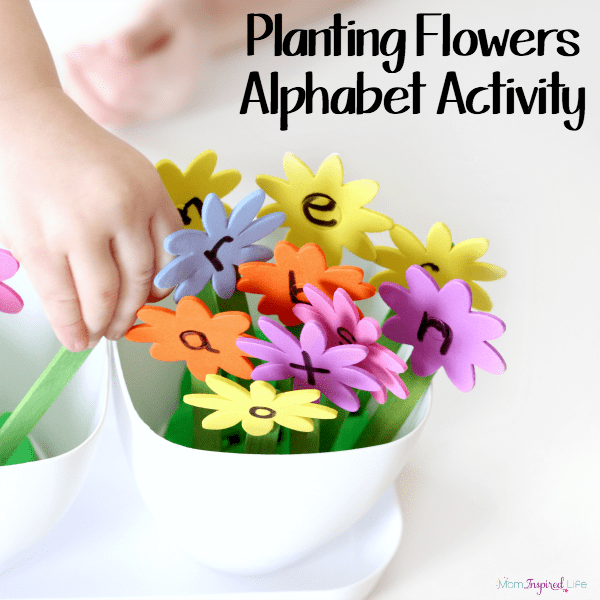 Planting flowers alphabet activity. A fun hands-on way to learn letters and letter sounds!