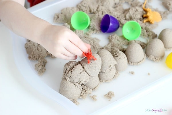 Kinetic sand activity for toddlers and preschoolers.