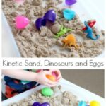 Playing with Kinetic Sand and Dinosaurs and Plastic Eggs