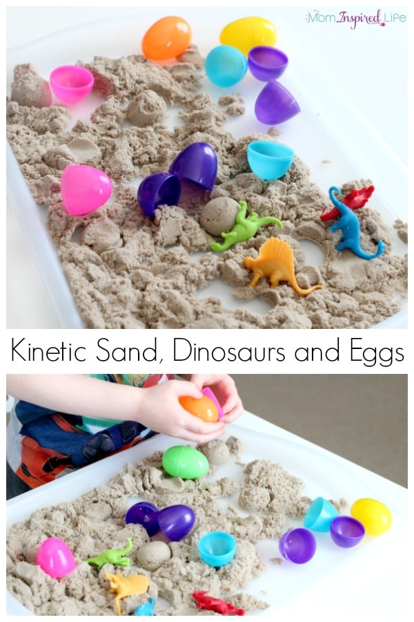 Dinosaurs in Kinetic Sand.