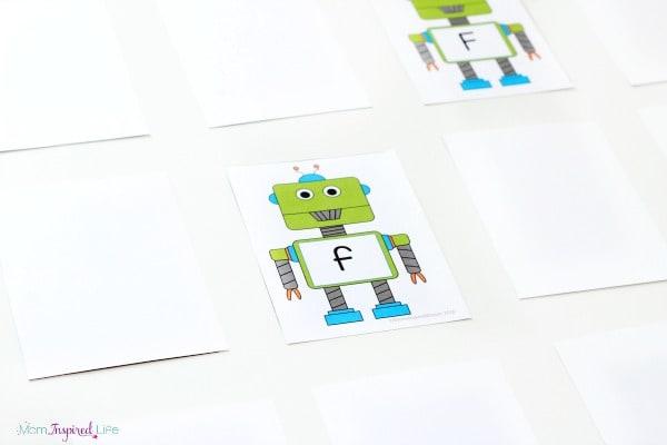 Alphabet memory matching game