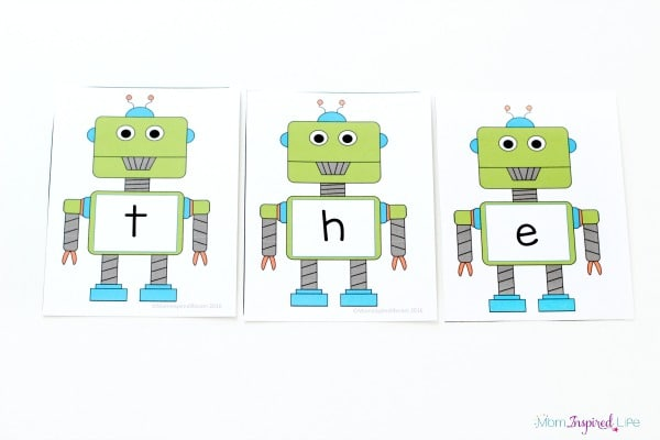 Robot sight word activity with free printable alphabet cards.