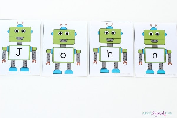 Robot name activity for preschoolers. A fun way for kids to learn their name!