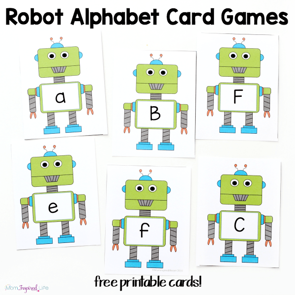 Robot alphabet card games and activities. Kids will learn letters, letter sounds, sight words and more!