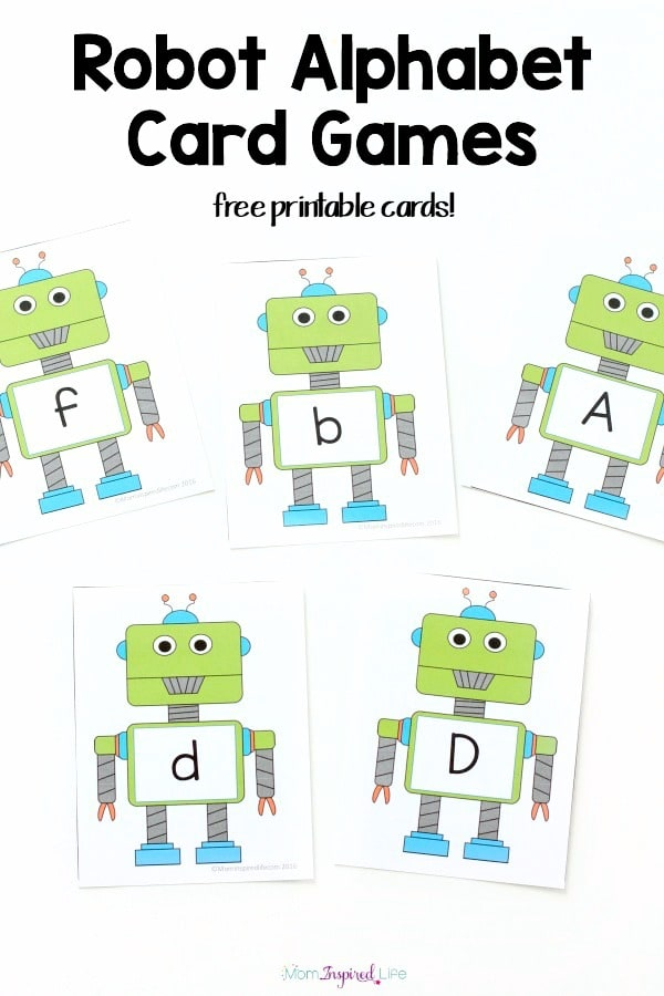 image relating to Printable Card Games titled Robotic Alphabet Card Video games and Functions