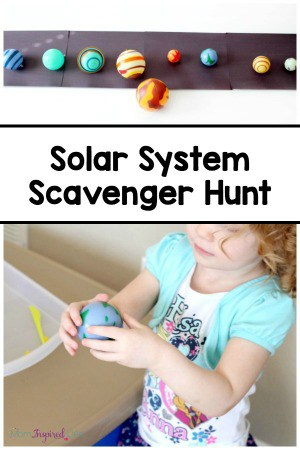 Solar system scavenger hunt. A fun and active way to teach kids about outer space and the planets!